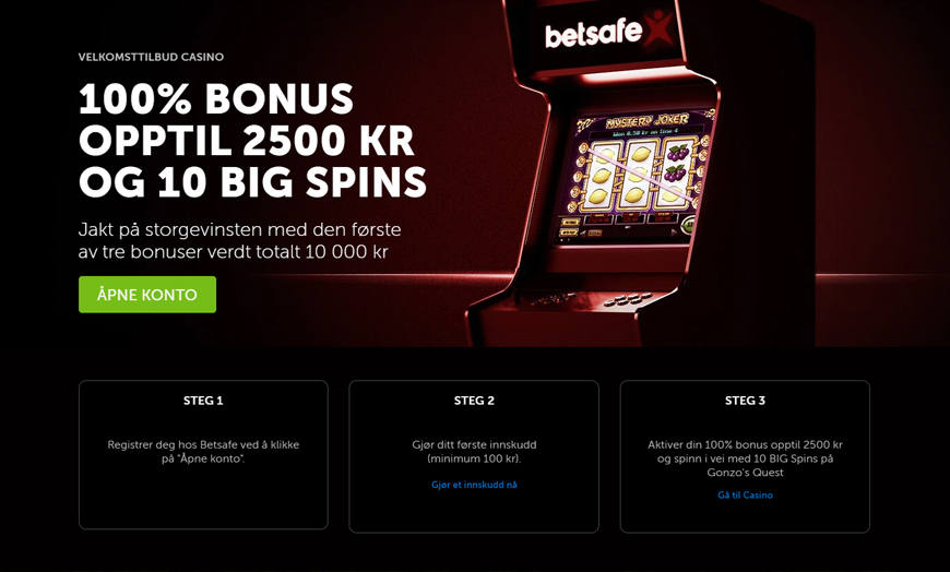 Betsafe Casino Banner - Norges.Casino